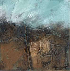 'Peddar's Way' © Mari French 2010, acrylic/mixed-media on canvas, 20x20cm.