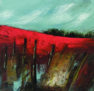 'Walking near Castle Acre', acrylic/mixed-media on board © Mari French 2010