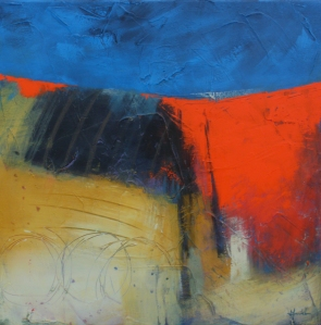 'Track through poppy field', © Mari French 2010, 50x50cm, acrylic/mixed-media on canvas.