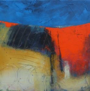 'Track through poppy field', © Mari French 2010, 50x50cm, acrylic/mixed-media on canvas.