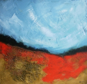 'Summer fields with poppies', © Mari French 2010, 60x60cm, acrylic/mixed-media on canvas.