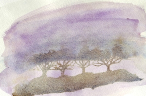 Hedge in winter, misty day, acrylic ink/watercolour © Mari French 2010