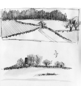 From my sketchbook - winter, Harpley. © Mari French