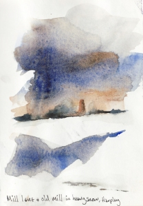 Harpley old mill in snow, watercolour sketch, © Mari French 2010