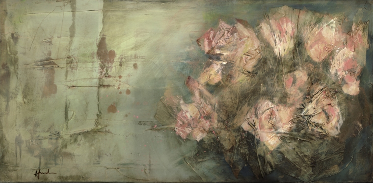 'Roses and old wall' 40x80 acrylic/mixed-media on canvas © Mari French
