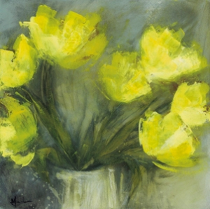 'Yellow tulips in old jug' acrylic/mixed-media on canvas © Mari French