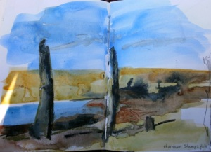 Thornham stumps, from sketchbook © Mari French 2011