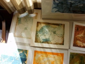 Poppy collagraph prints produced by fellow student Dee (photo © Mari French)