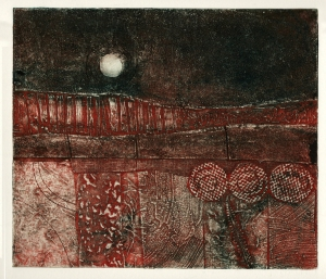 'Harvest moon 3' collagraph print © Mari French 2011