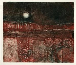 'Harvest moon 3' collagraph print © Mari French 2011