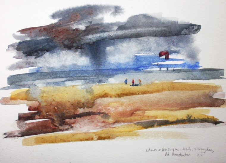 Old Hunstanton Beach with kite surfers (watercolour) © Mari French 2011