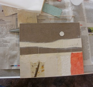 basic collagraph plate - 'Harvest moon', Mari French
