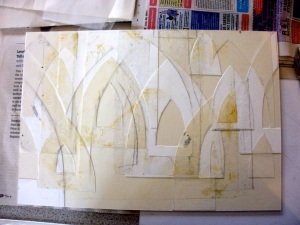 simple layered collagraph plate (Arches © Mari French)