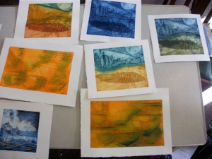 Collagraph workshop - students' work (photo © Mari French 2011