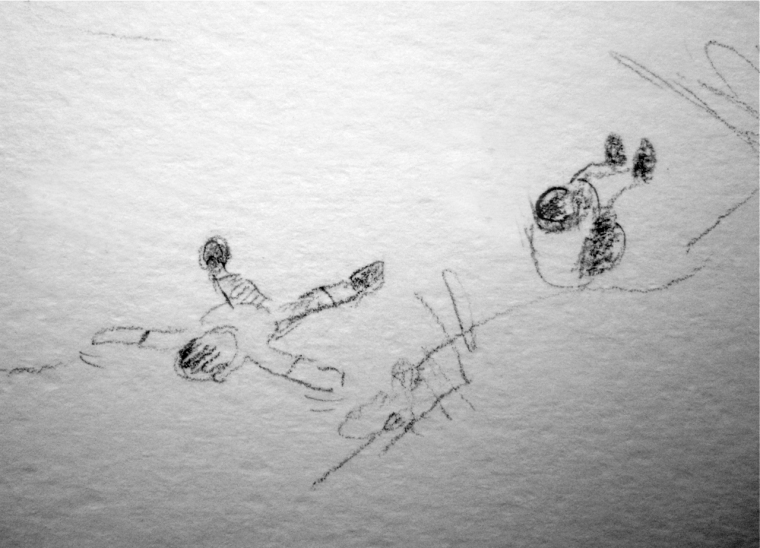 Sand angels (quick pencil sketch) © Mari French 2011