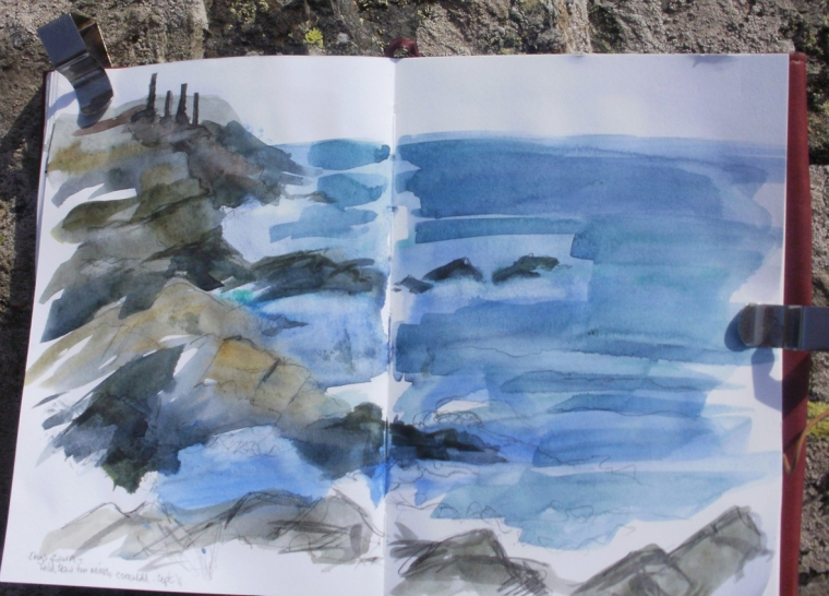 Sketch of Cape Cornwall, from Pendeen Watch © Mari French 2011