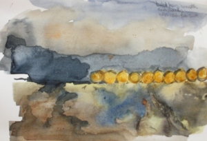 haybales catching the sun - watercolour sketch © Mari French 2011