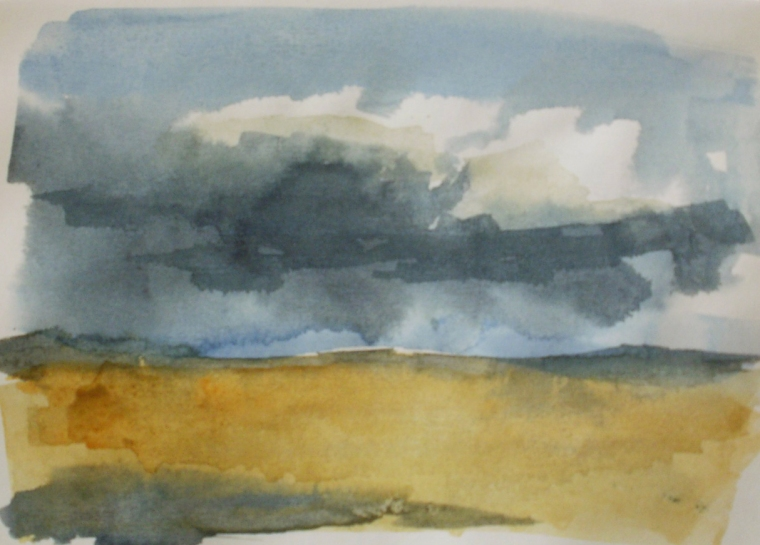 Rain approaching - watercolour sketch © Mari French 2011