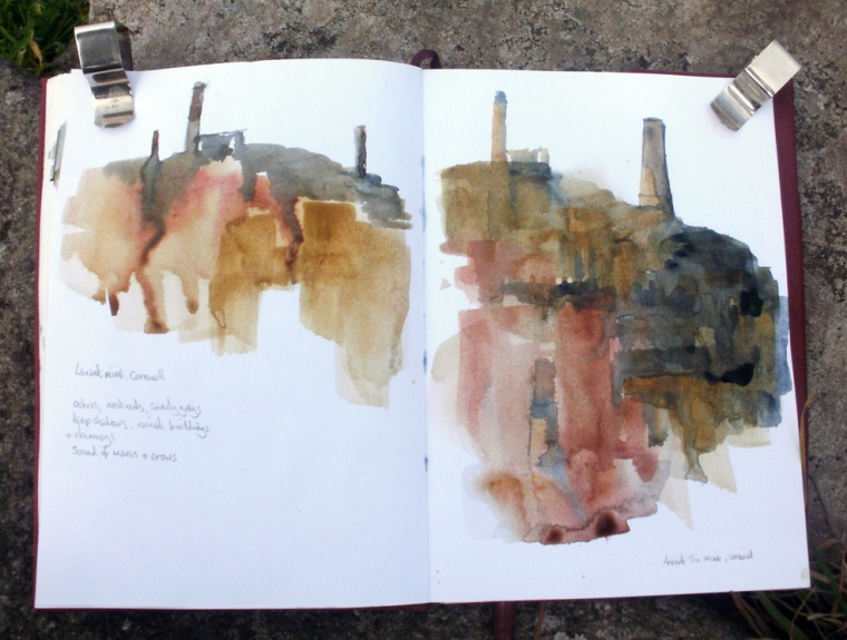Sketch of Levant Mine, Cape Cornwall © Mari French 2011