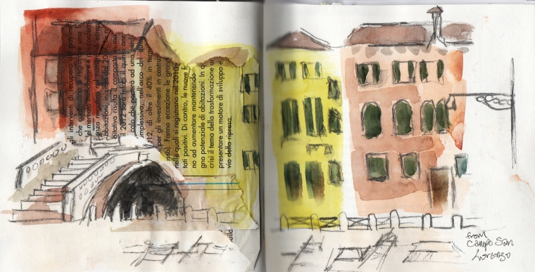 venetian square, sketchbook watercolour/collage © Mari French 2012