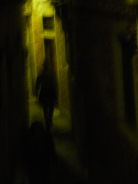 Lone figure walking, Venice