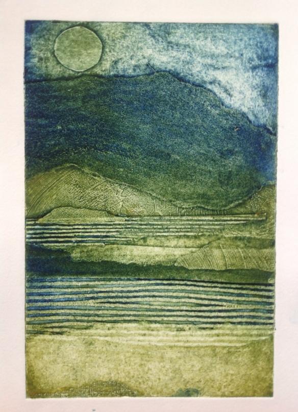 Moonlit lochs © Mari French 2013. Collagraph & carborundum print.