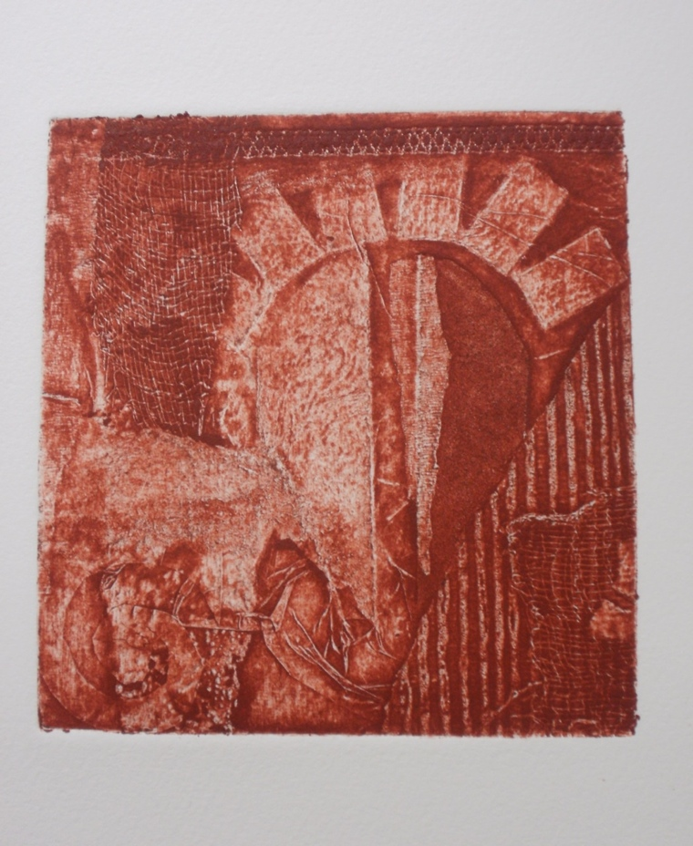 collagraph plate inked in Burnt Sienna