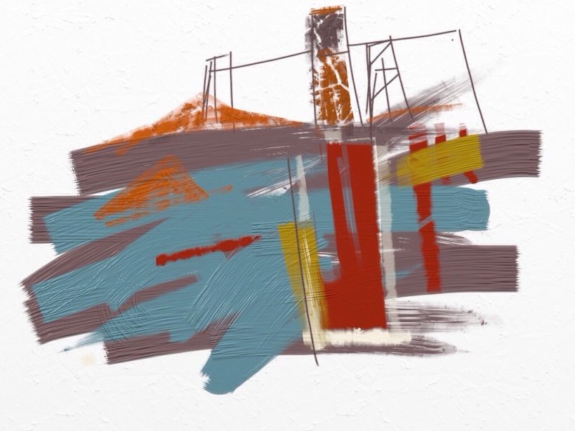 Geevor Mine, Pendeen. Digital painting.