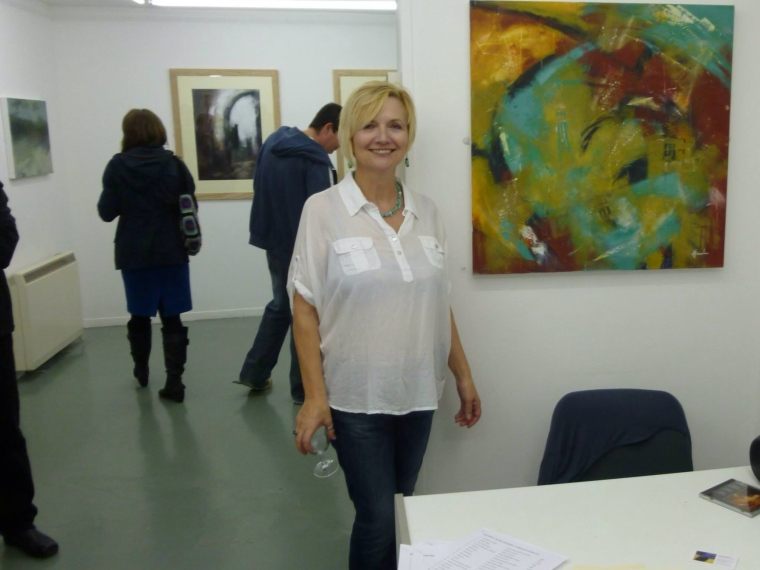 Artist Mari French at the opening evening of Beyond the Surface