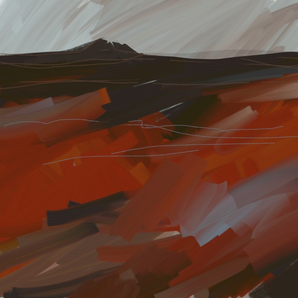 Rosewall Hill, looming. Digital painting.