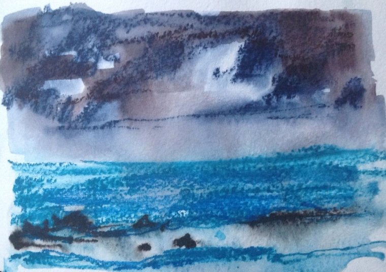 Rainclouds over Porthmeor bay, St Ives, Cornwall.