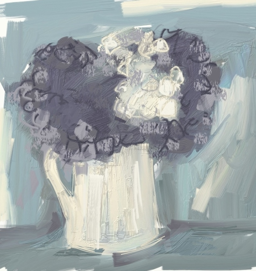 hydrangeas. iPad sketch. Mari French 2014.
