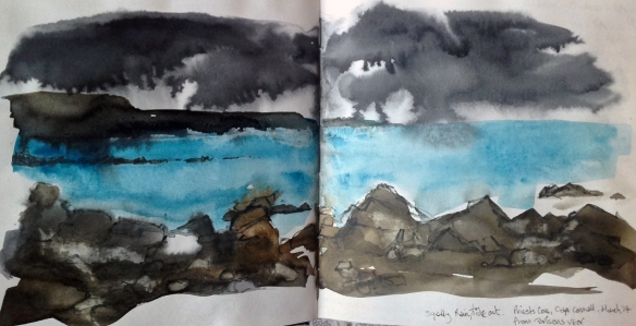 Squalls over Lands End, from Brisons Veor (workbook) ©Mari French 2014