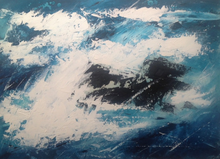 Wild sea 2. Acrylic on board. Mari French 2014.