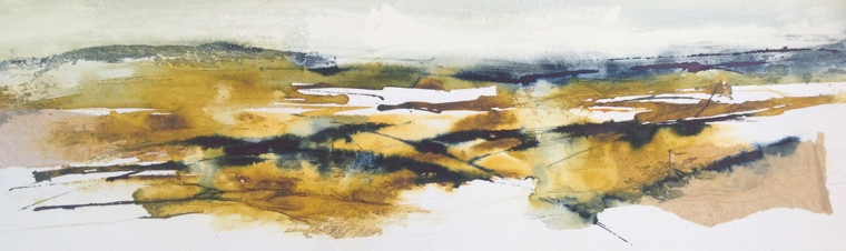 SOLD. Moorland light. Watercolour/ink on board. Mari French.