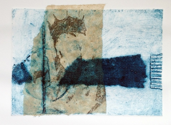 Numinous. Collagraph print with transfer on chine colle. Mari French 2014.