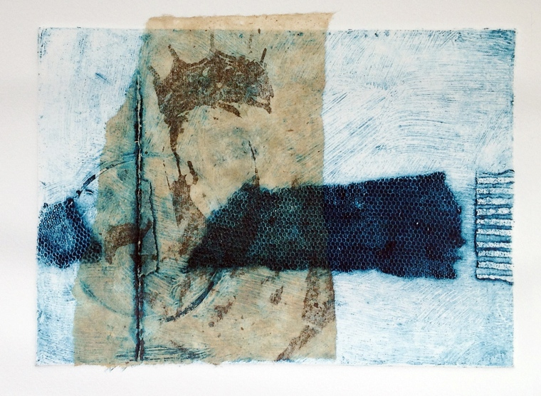 Collagraph with transfer and chine colle.