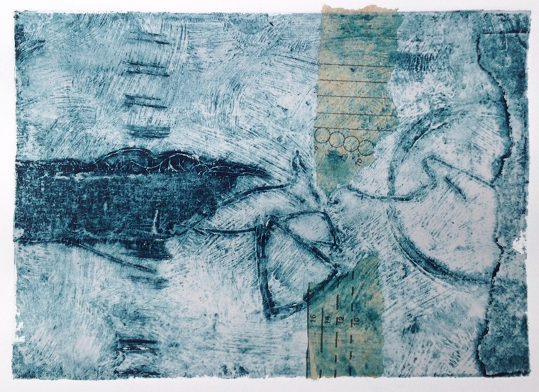 Fathoms. Collagraph with transfer & chine colle. Mari French 2014