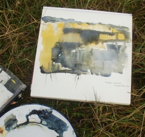 Reed beds and tidal mud. Watercolour sketch. Mari French 2014