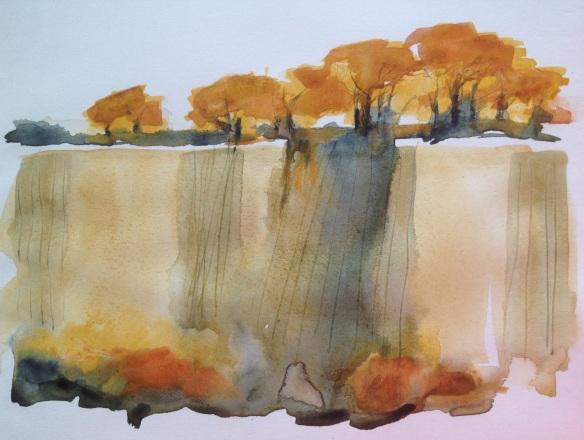 Beech woods and stubble, Massingham Heath. Mari French