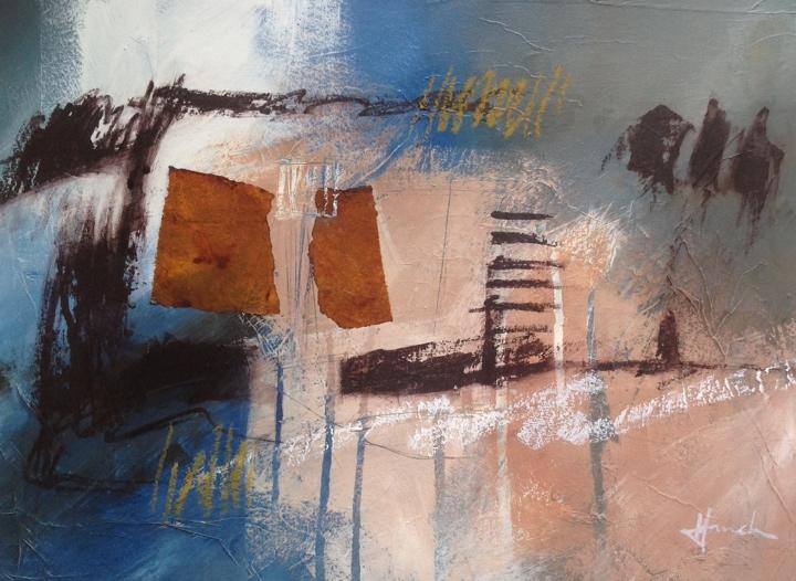 Mixed media on watercolour board. Mari French 2014