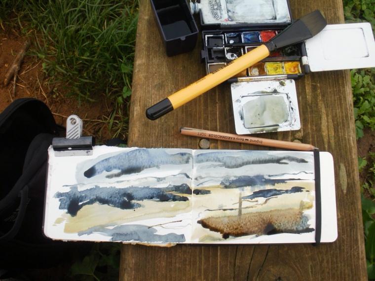Sketchbook. Burnham Overy salt marsh, December.