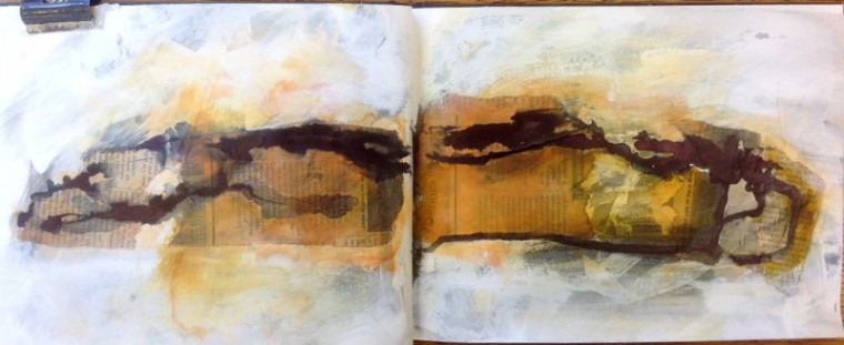 Workbook mixed media sketch © Mari French 2015