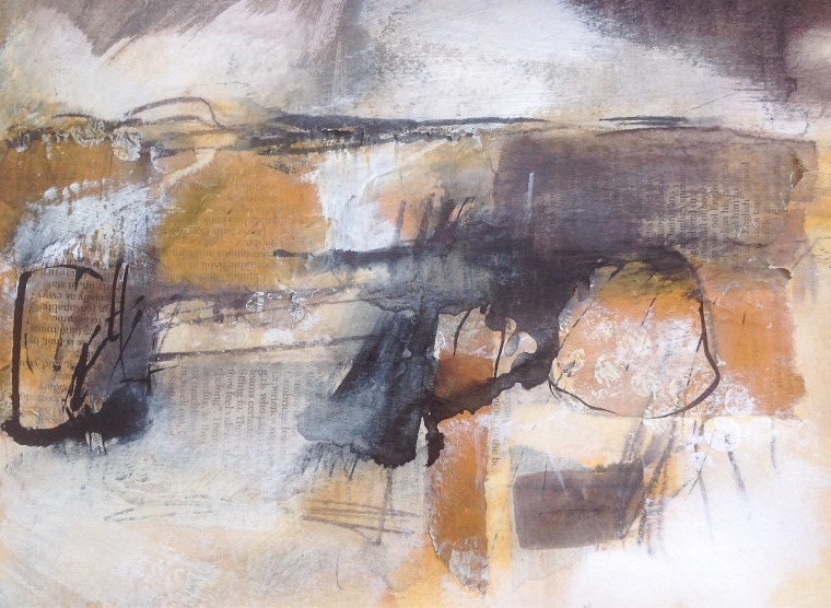 Subsequent tides. Mixed media on paper. © Mari French 2015