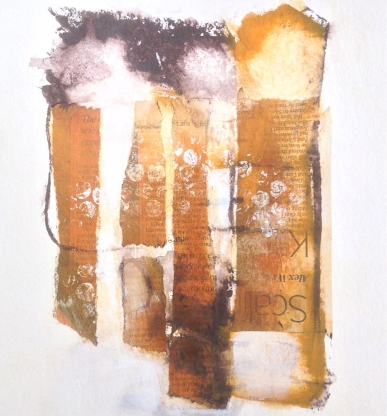But here we are. Overy Marsh. Mixed media on paper. © Mari French 2015