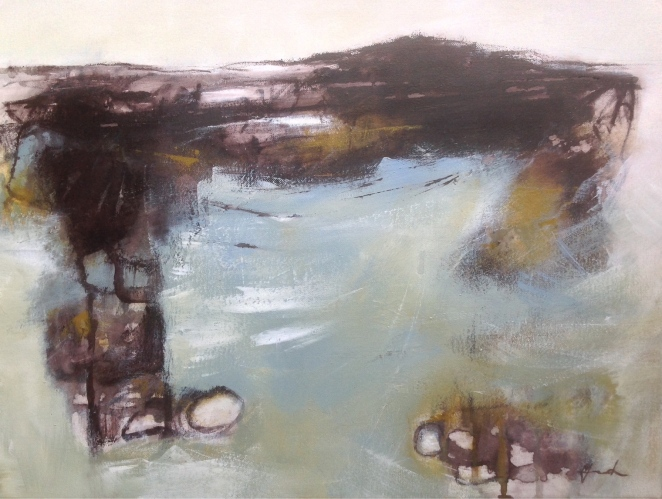 tide coming in. Ink & acrylic on canvas. Mari French 2015
