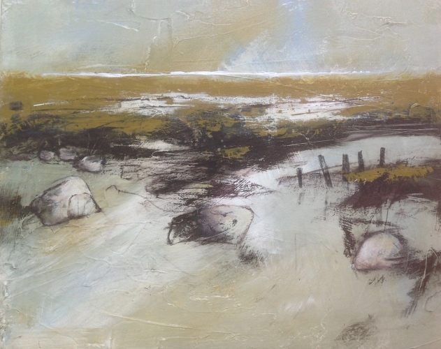 Saltmarsh series, mixed-media on canvas board. © Mari French