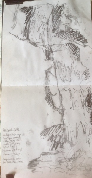 Dol Goch falls, sketch. Mari French 2015