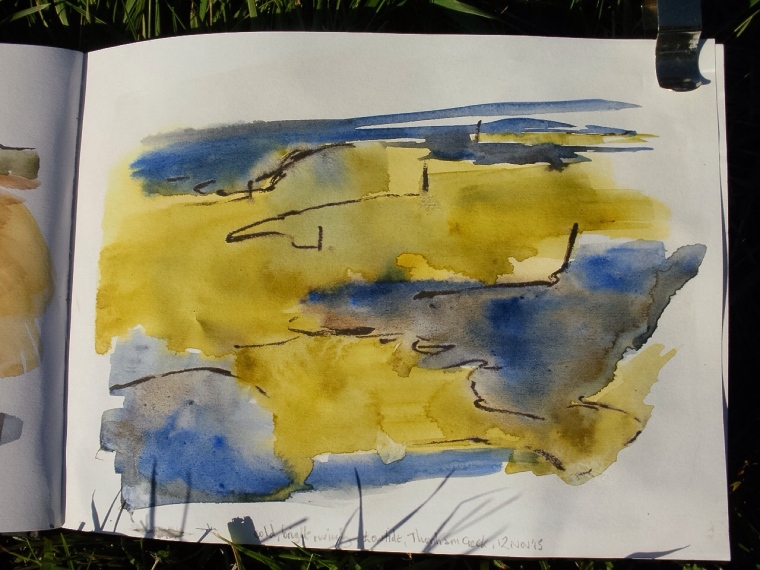 Thornham creek and marsh, sketchbook. Mari French 2015