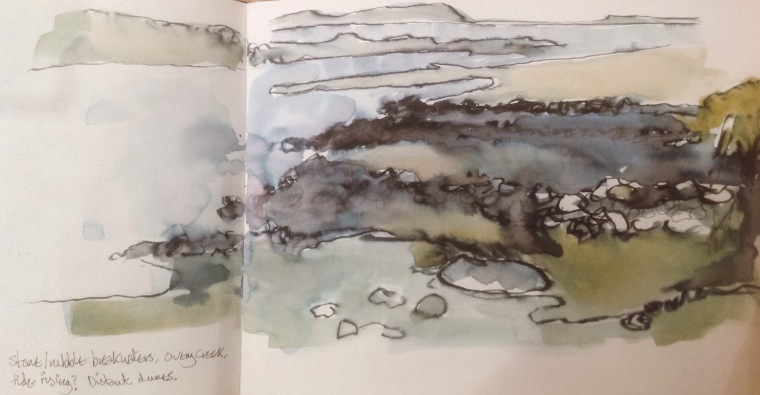 Breakwaters, Overy creek. Sketchbook, Mari French 2015